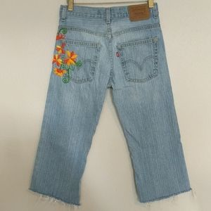"""Levi's 527 Cropped Distressed Red Tab Jeans 28""""W"""